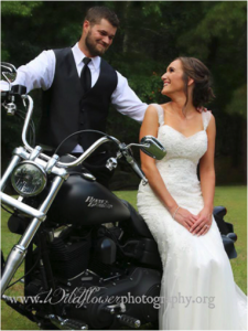 Just married couple on bike