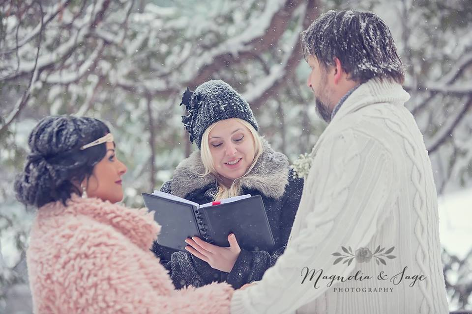 All Seasons officiant Brigitte Samson conducting a winter ceremony